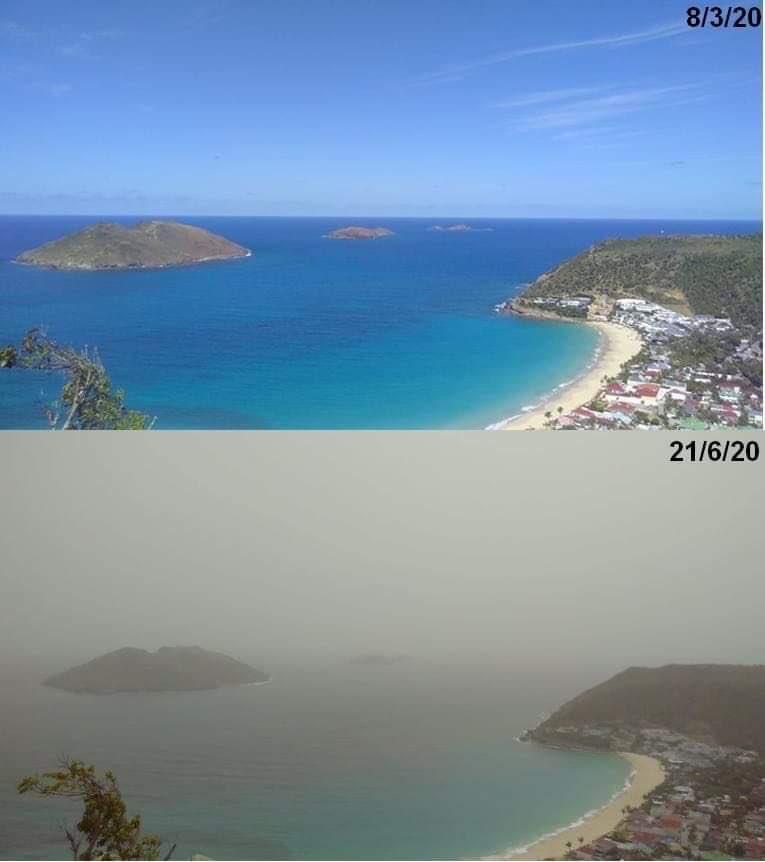 A diferença com a presença da nuvem de poeira no Caribe. (Fonte: Mark Sudduth/Twitter/Reprodução)