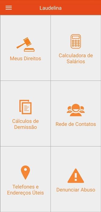 App é organizado por temas