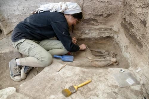 Pesquisadora encontra um esqueleto durante a escavação. (Fonte: Scott Haddow/The Ohio State University/Reprodução)