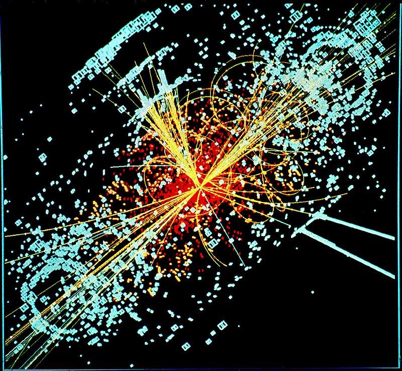 Modelo de colisão atômica chamado de Bóson de Higgs (Fonte: Wikimedia Commons/Reprodução)