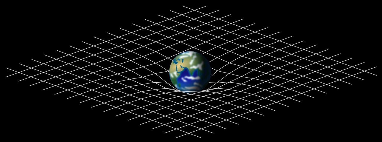 Modelo da deformação no espaço-tempo causada pela massa planetária descrito na teoria da relatividade (Fonte: Wikimedia Commons/Reprodução)