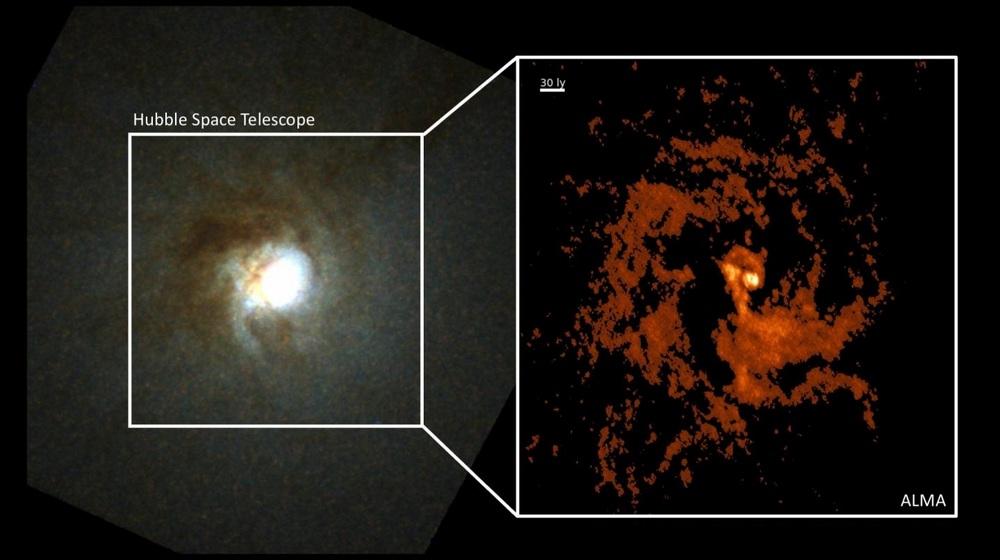 O telescópio ALMA revelou, dentro da NGC 404 (à esquerda), um turbilhão de gás como jamais registrado (à direita).