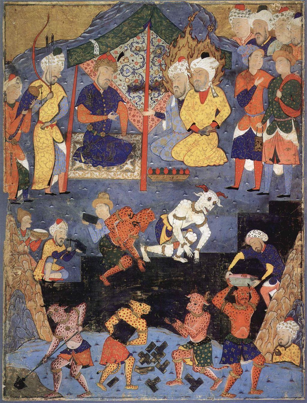 Miniatura persa do século XVI mostrando os jinn ajudando na construção de um muro. (Fonte: Wikimedia Commons)dando humanos