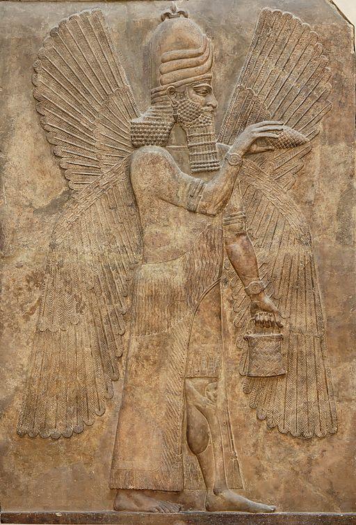 Representação de um jinn como uma entidade semi-divina no período 713 a 716 A.C (Fonte: Wikimedia Commons)