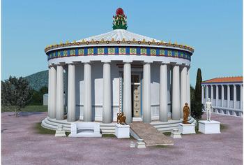 Um Santuário de Asclépio com uma rampa de acesso. (Fonte: John Svolos/Antiquity/Reprodução)