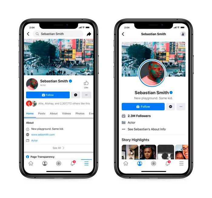 Comparativo entre o antigo e novo design das páginas do Facebook