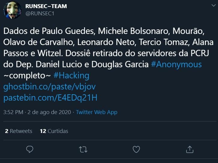 Anonymous vaza dados de Paulo Guedes, Olavo de Carvalho e mais
