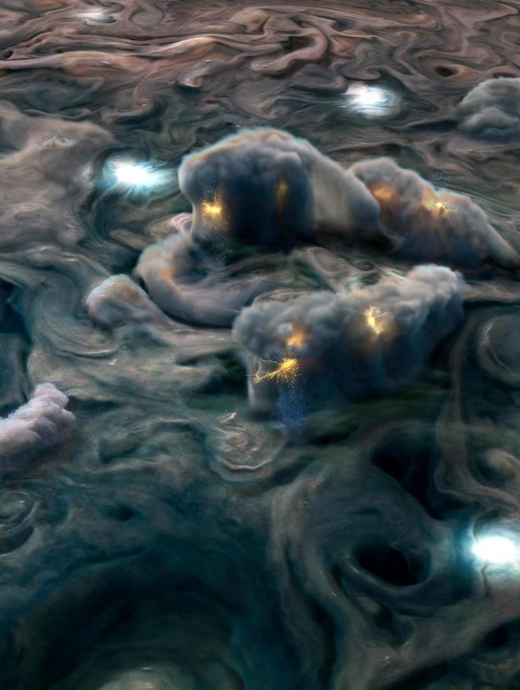 Durante um voo próximo a Júpiter, a sonda Juno captou tempestades elétricas incomuns a grandes altitudes.