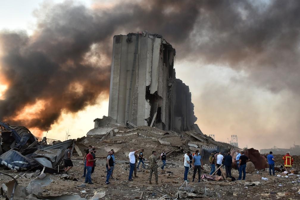 Destroços da explosão em Beirute, no Líbano. (Fonte: STR/AFP/Reprodução)