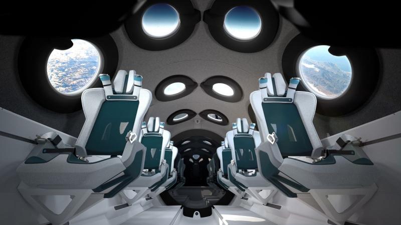 Interior da nave SpaceshipTwo, da Virgin Galactic, que deve ser uma das primeiras a realizar voos turísticos suborbitais