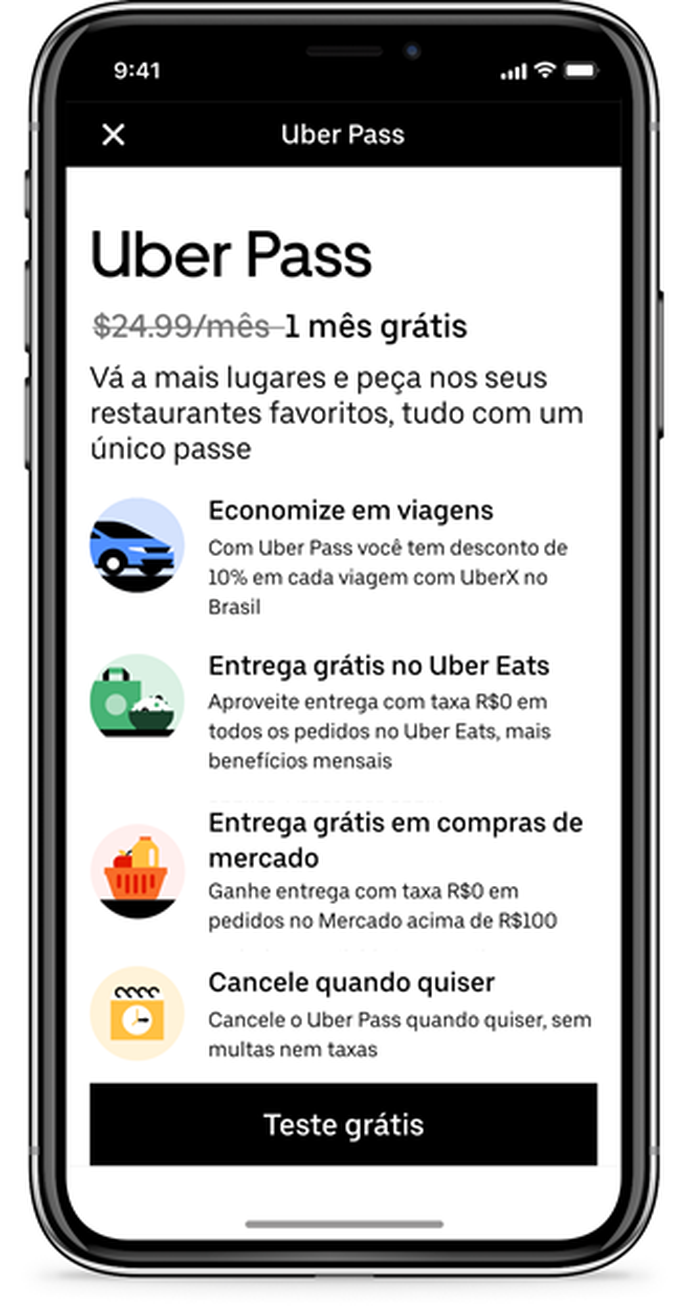Os benefícios do Uber Pass incluem descontos e outras vantagens.