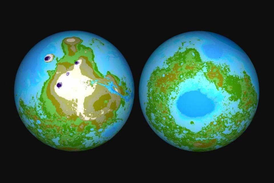 Mapa simula como Marte seria se tivesse oceanos como os da Terra