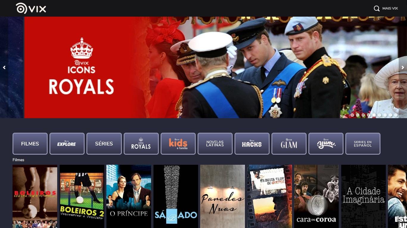A interface da plataforma e um dos documentários disponíveis em destaque.
