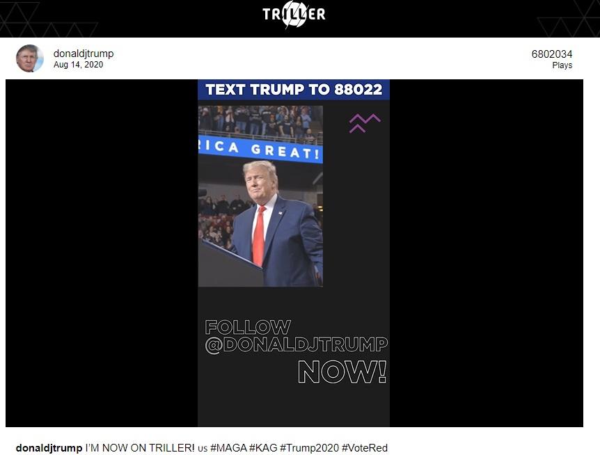 A publicação de Trump é considerada um sucesso em uma rede social ainda pouco divulgada.