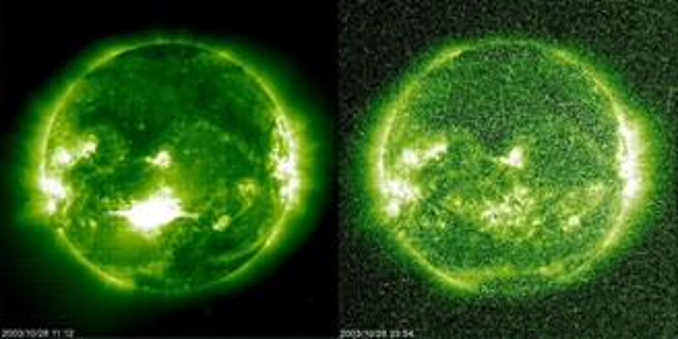 Em 2003, o Sol ejetou o flare X 17.2, o segundo maior já observado (à esquerda). A imagem à direita foi captada entre dois flares, quando o satélite SOHO da NASA e da ESA foi atingido pela tempestade solar que se seguiu.