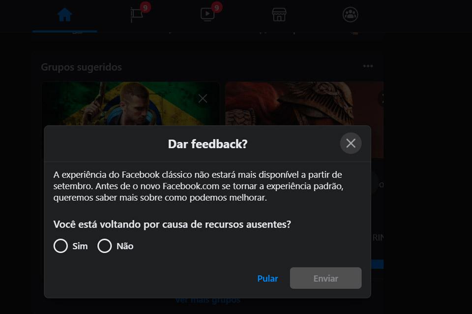 O Facebook avisa que o suporte para o visual clássico será encerrado mês que vem