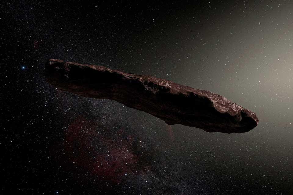 Criação de artista do objeto interestelar. (Fonte: ESO/M. Kornmesser/Wikimedia Commons)