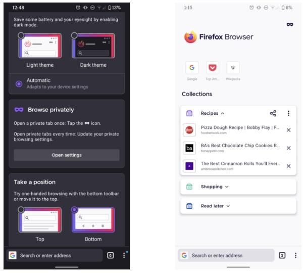 A nova interface tem opção de modo escuro e barra de endereços na parte inferior da tela.