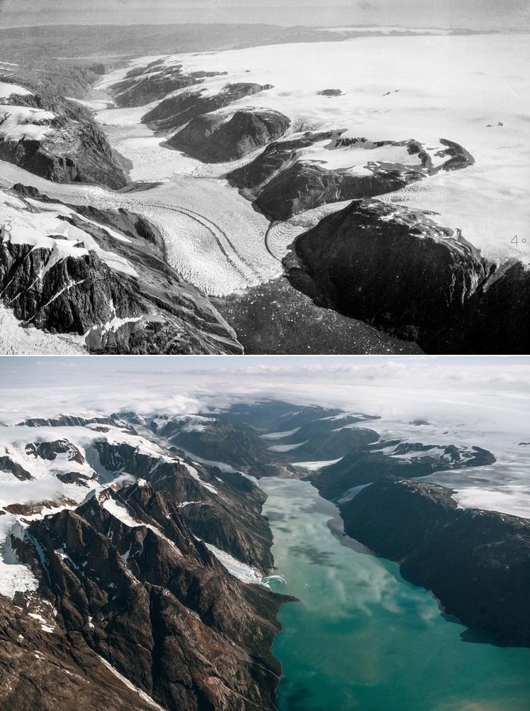 A geleira de Sukkertoppen, na Groenlândia, em 1935 (acima) e 2013 (abaixo).