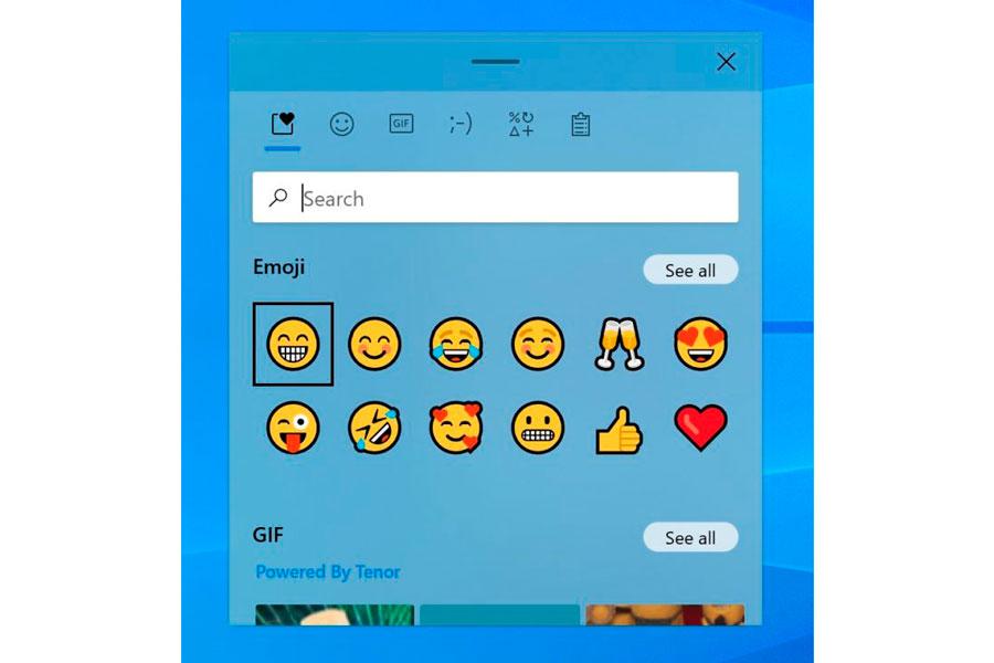 Painel de emojis conta com barra de buscas e aba de favoritos