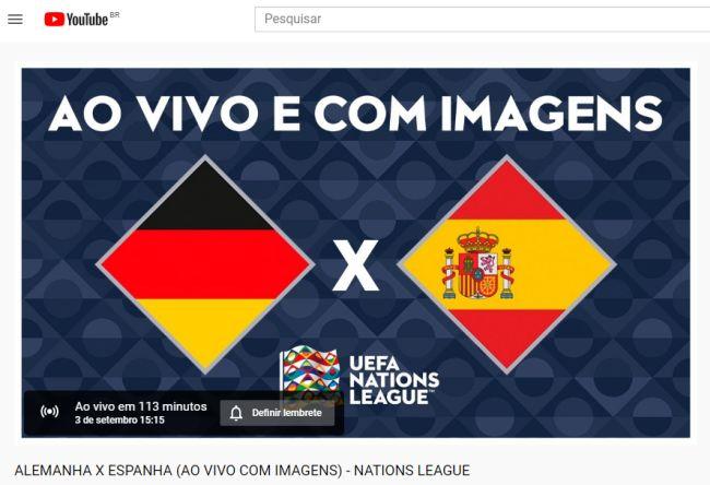 Alemanha x Espanha é o primeiro jogo do torneio que será exibido ao vivo no YouTube.