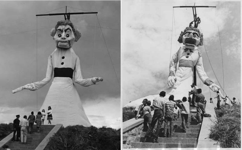 Boneco de Zozobra em 1940 (esq.) e em 1959 (dir.). (Fonte: Facebook/The Official Burning of Zozobra/Reprodução)