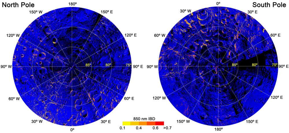 Mapa de hematitas nos polos lunares. (Fonte: NASA, Shuai Li via IFLScience/Reprodução)