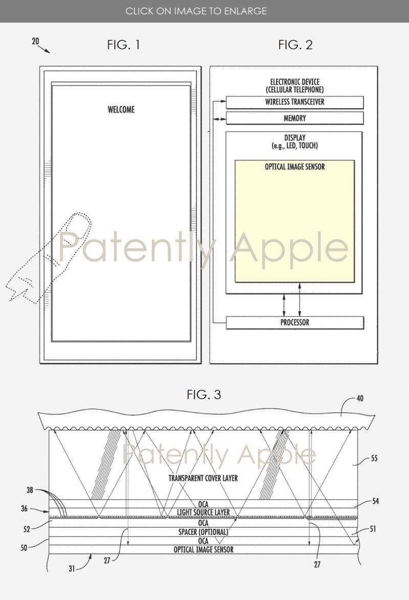 Patente da Apple para 'Touch ID' sob a tela de um dispositivo.
