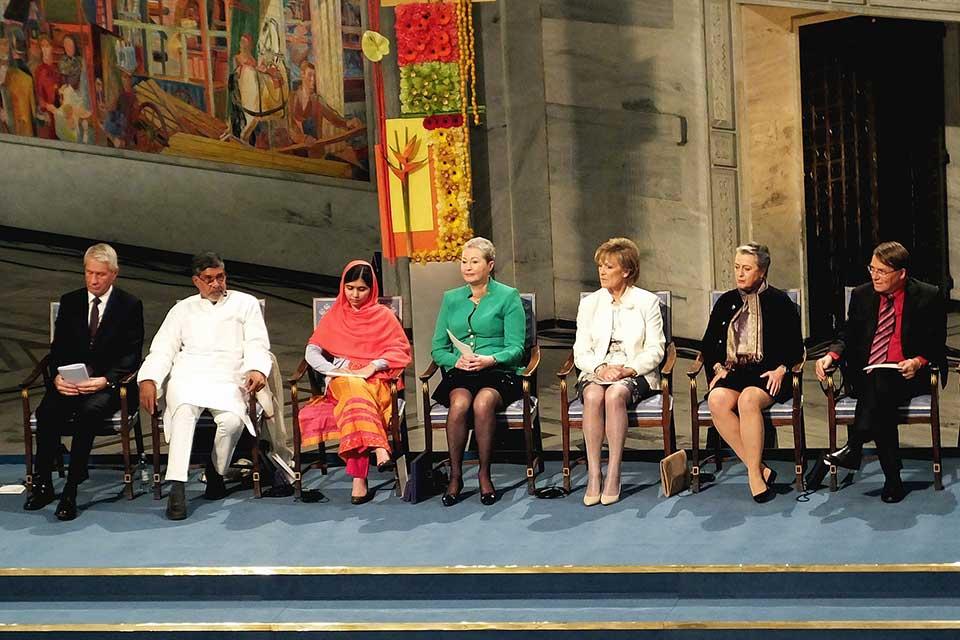 Malala Yousafzai na cerimônia do Nobel da Paz em 2014. (Fonte: Wikimedia Commons)