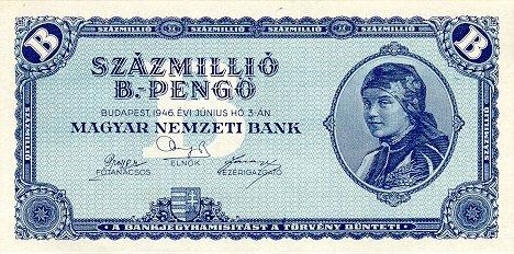 A nota de 100 milhões de b-pengo (ou 100 quintilhões de pengo) é considerada a maior nota da história (Fonte: Wikimedia Commons)