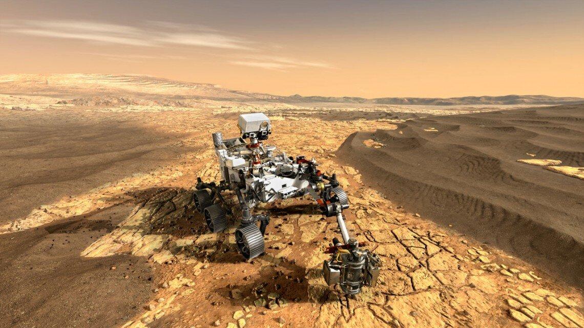 O rover Perseverance trabalhando na superfície de Marte (Fonte: NASA/Reprodução)