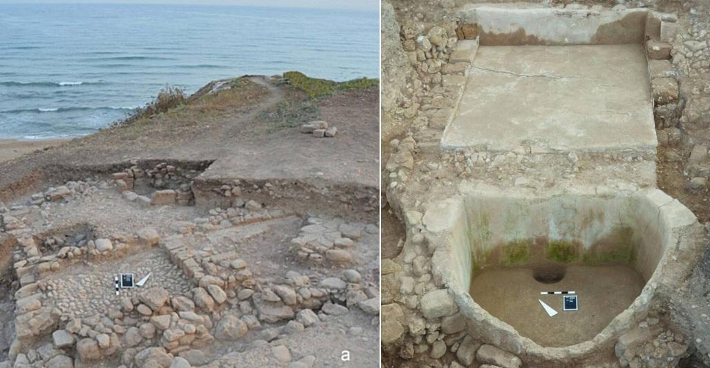 Detalhes do lagar encontrado no Sítio Arquológico Tell el-Burak, no Líbano