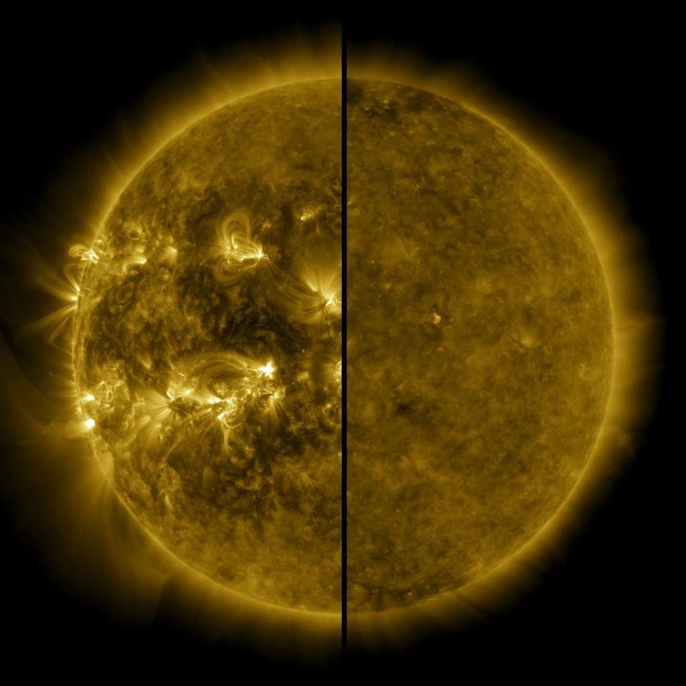 Os dois estados do Sol: à esquerda, o máximo solar (abril de 2014) e o mínimo (dezembro de 2019), à direita.