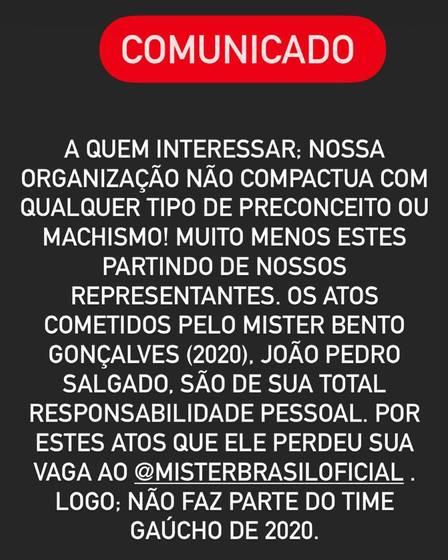 (Fonte: Mister Rio Grande do Sul/Facebook)