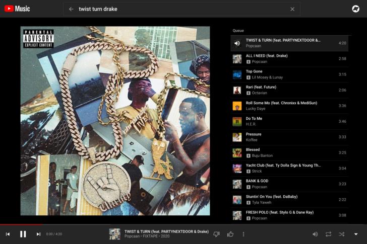 Antiga interface do Youtube Music, com apenas uma aba. (Fonte: Youtube via Android Police / Reprodução)