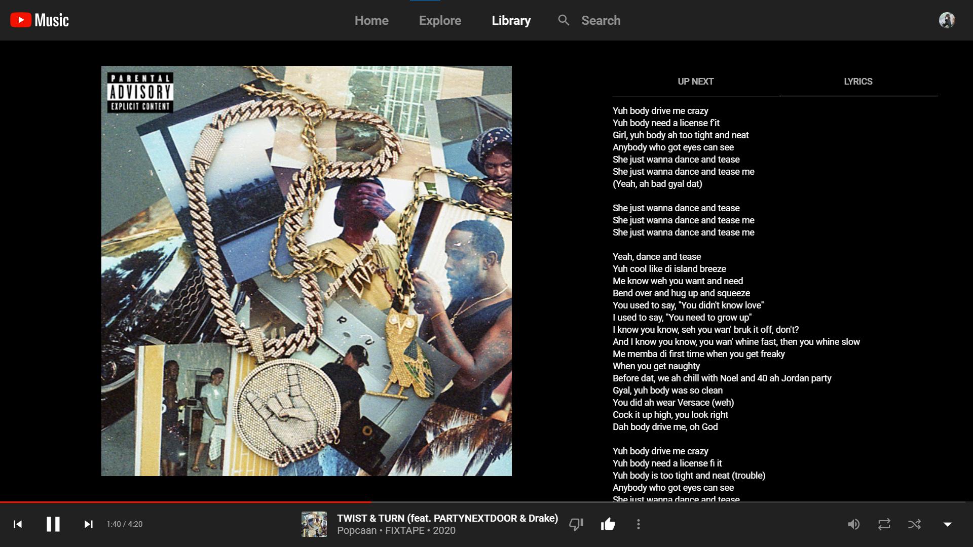 Nova interface do Youtube Music, com duas abas. (Fonte: Youtube via Android Police / Reprodução)