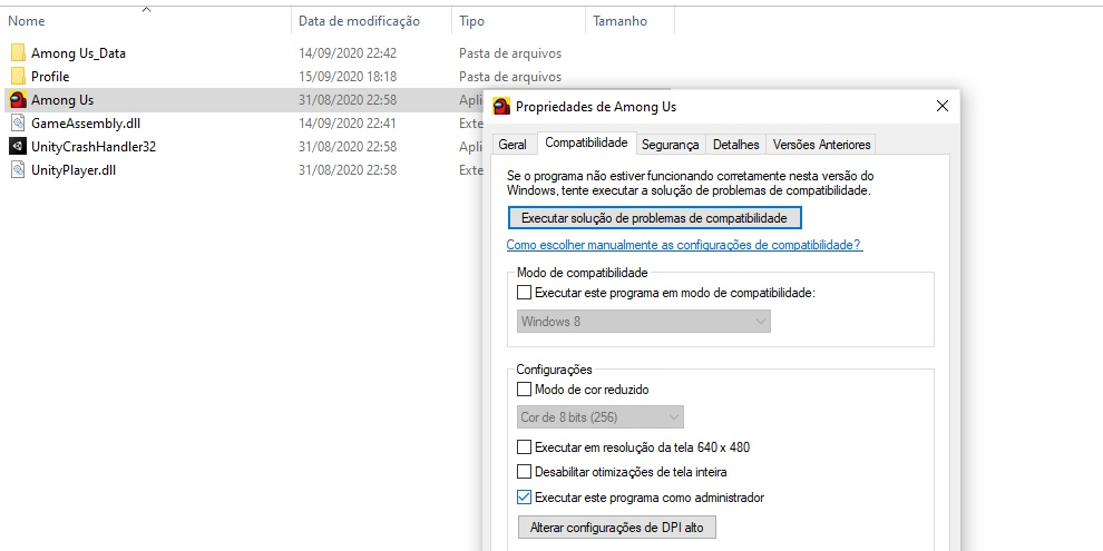 Imagem explicando a execução do arquivo de among us como administrador