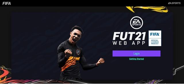 Página inicial Fut Web App 21.
