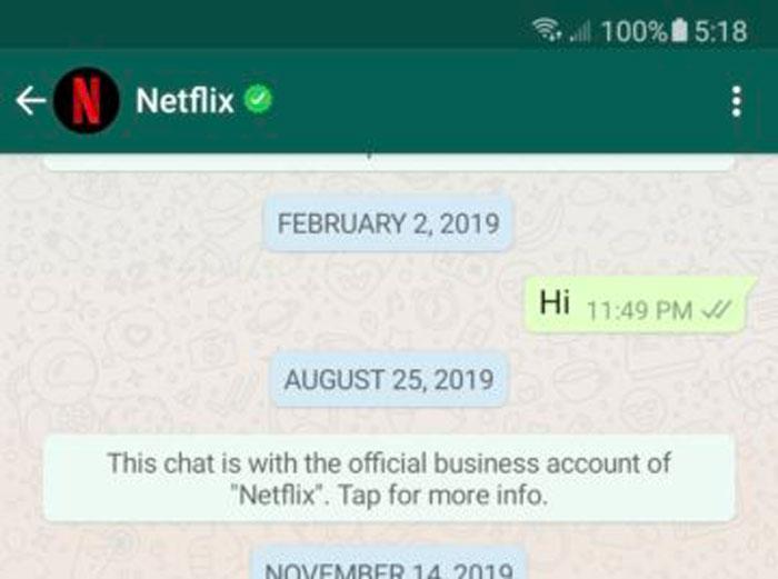 Os botões de chamada foram retirados do chat com perfis comerciais