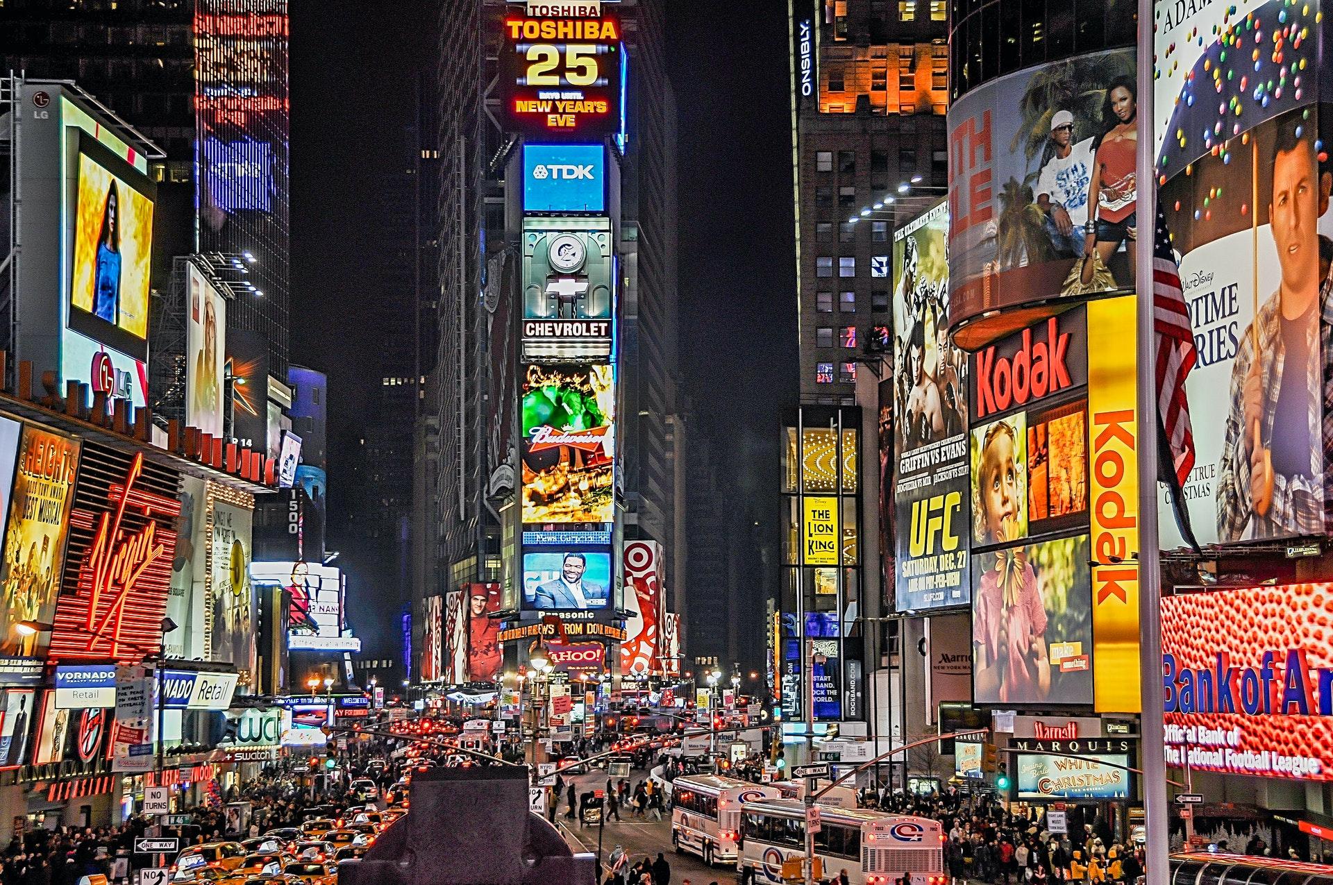 Times Square, em Nova York, Estados Unidos. (Fonte: Pexels)