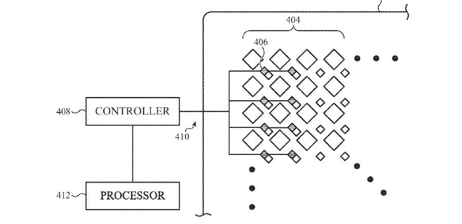 Patente sugere sistema de detecção de luz entre pixels da tela