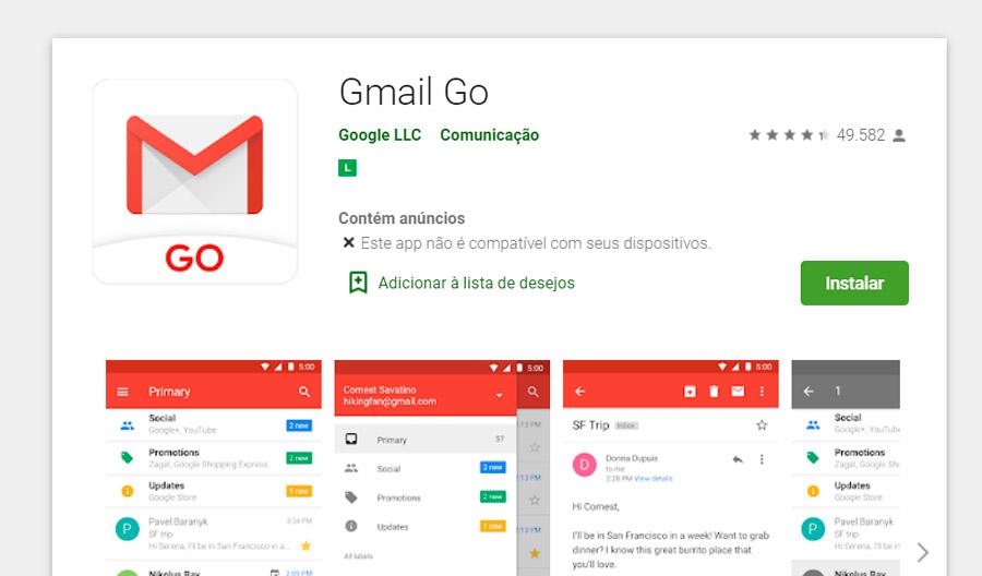 O Gmail Go ainda aparece como indisponível em certos celulares no Brasil