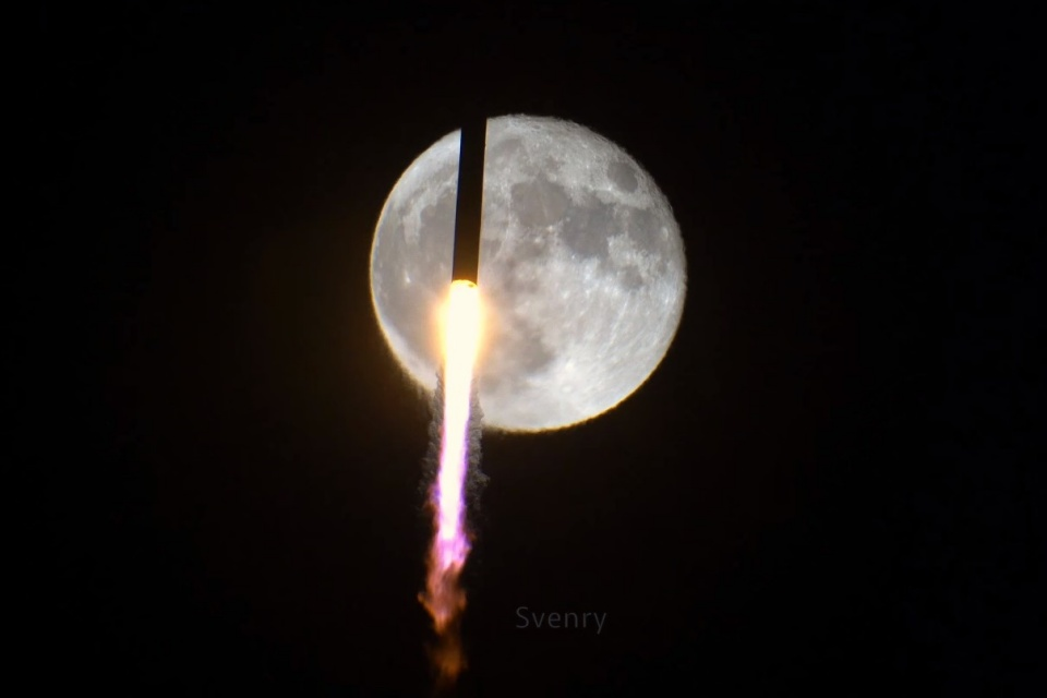 Veja momento exato em que foguete passa na frente da lua [vídeo]