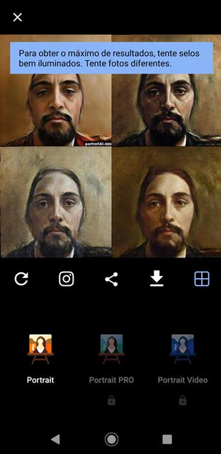 Tela de inserção de filtro PortraitAI.