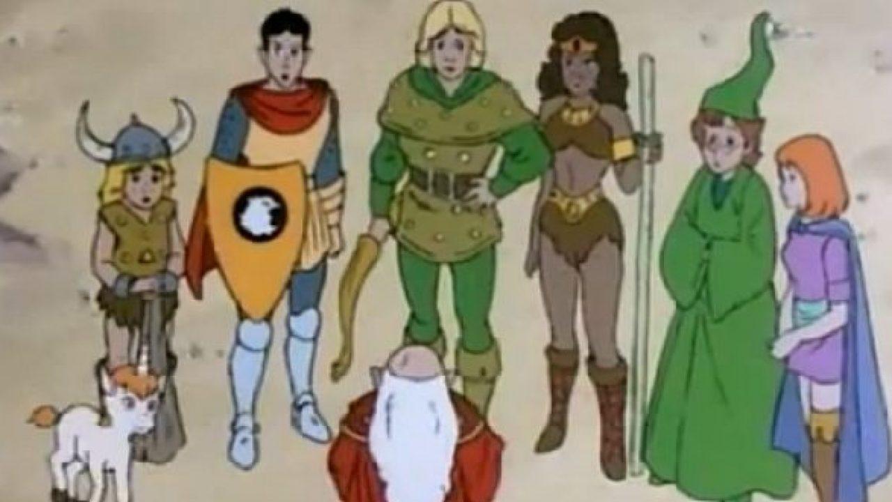 Grupo de heróis reunido em torno do Mestre dos Magos.