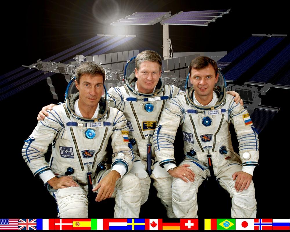 A Expedição 1: Krikalev (à esquerda), Shepherd e Gidzenko.