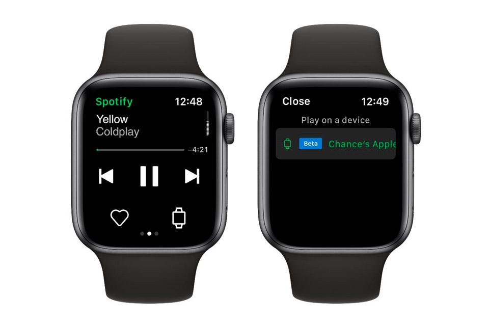 A opção de usar o Spotify diretamente no Apple Watch aparece como beta