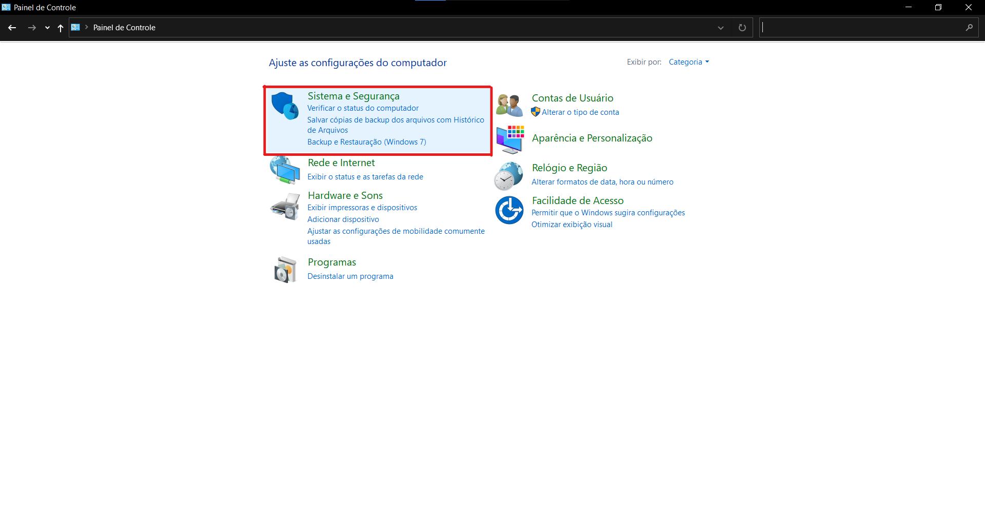 Na última atualização do Windows 10, a página de Sistema e Segurança no Painel de Controle leva ao aplicativo de Configurações. (Fonte: Windows 10 / Reprodução)