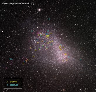 In the Little Magellanic Cloud, the images already captured by Hubble (yellow) and those that were included in ULLYSES.