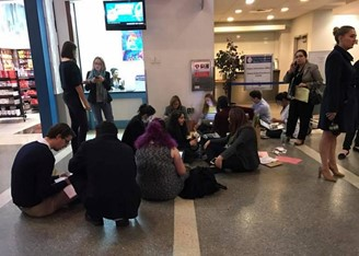 January 2017: Volunteer lawyers write, on the floor of Los Angeles Airport, habeas corpus for foreigners (including students and scientists returning from vacation) barred from entering the U.S. due to a Trump decree.
